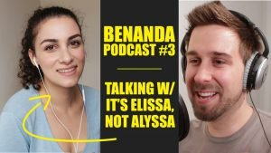 Benanda Podcast #3 cover photo with Elissa on the left and ben on the right, both smiling