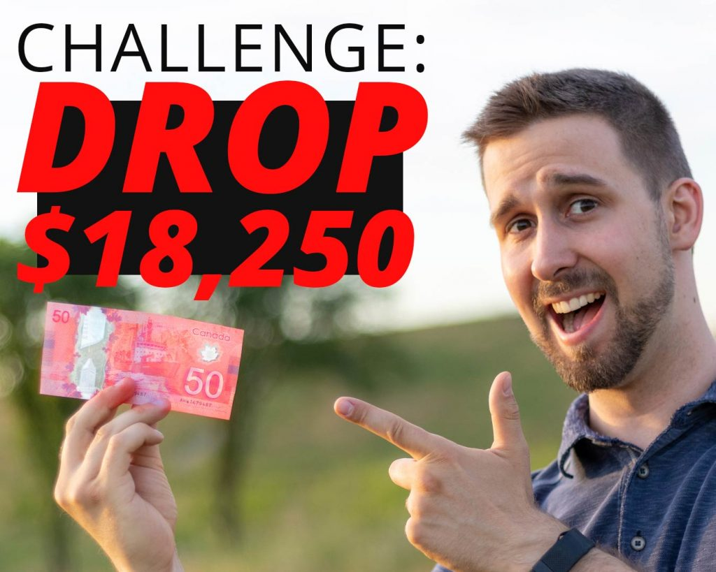 Ben holding up a $50 bill and pointing at it with text saying CHALLENGE: DROP $18,250
