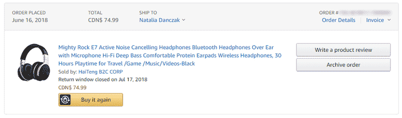 """Screenshot of Amazon """"Mighty Rock E7"""" headphones purchase history for $74.99 on June 16, 2018"""